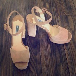 Brand new Prada block heels in dusky pink suede
